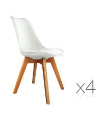4 x Eames Inspired White PU Dining Chairs