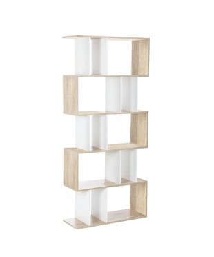 5 Tier Display Book Shelf Unit - White Brown