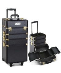 7 in 1 Portable Make Up Cosmetic Beauty Case - Black Gold