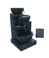 Four-Tier Solar Power Water Fountain with LED Light - Blue