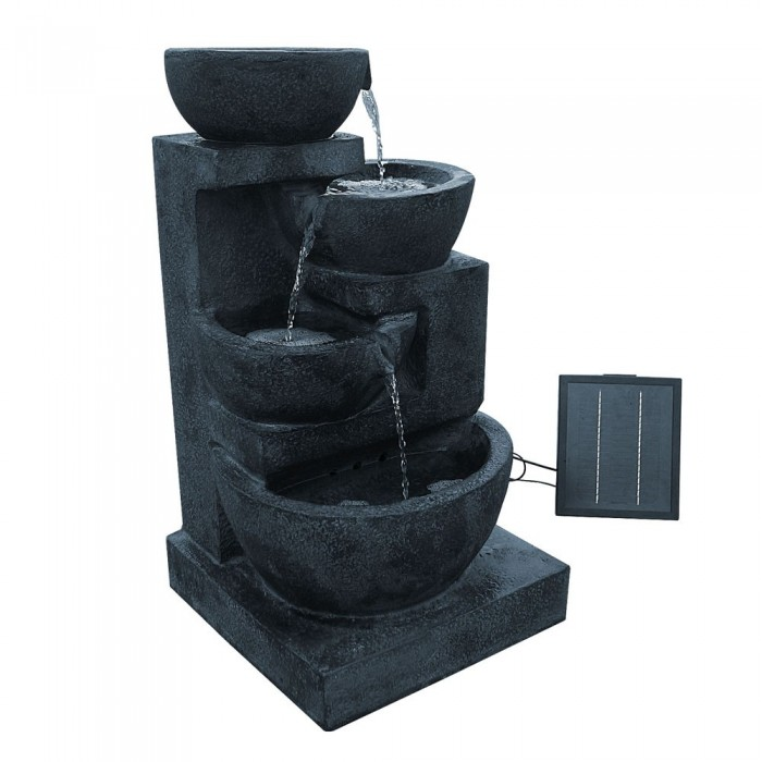Four Tier Solar Power Water Fountain With Led Light Blue