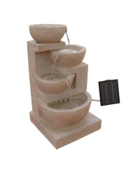 Four-Tier Solar Power Water Fountain with LED Light - Sand