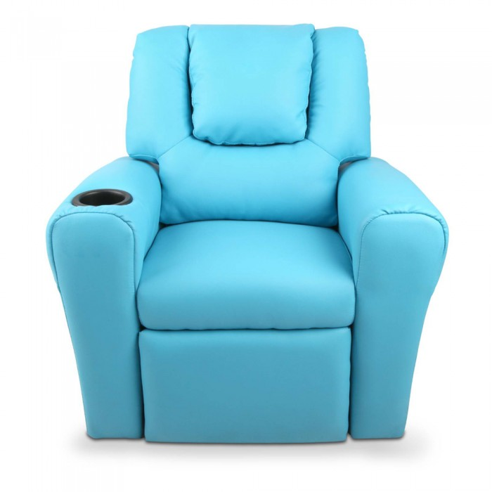 Kids padded pu leather recliner chair blue for Toddler leather chair