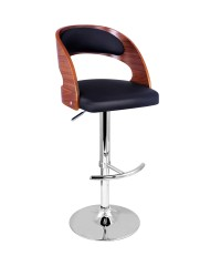 Leather Wooden Kitchen Bar Stool - Black