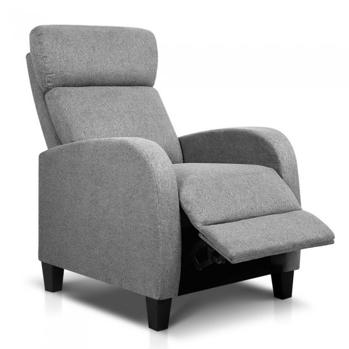 Fabric Armchair Recliner Grey