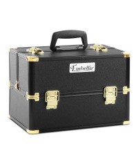 Make Up Cosmetic Beauty Case - Black & Gold