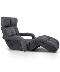 Single Size Lounge Chair with Arms – Charcoal