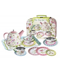 Bird Tin Tea Set in Suitcase