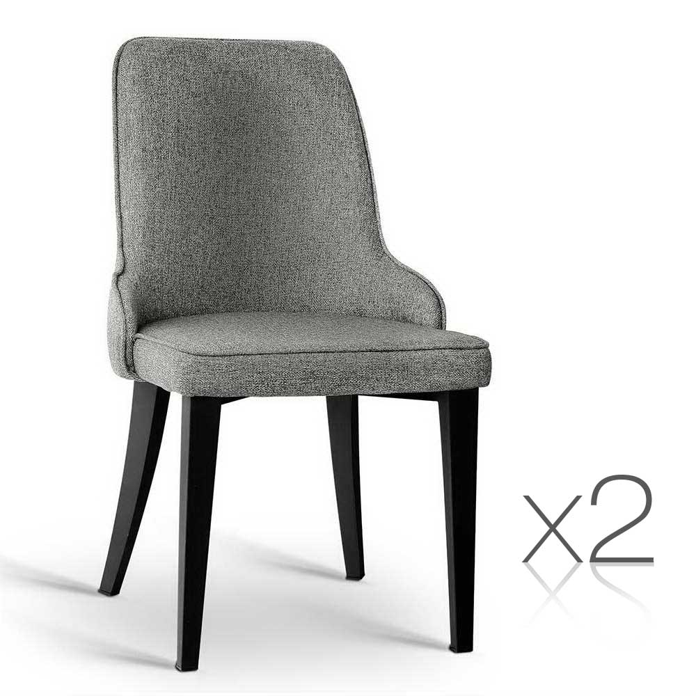 2 Fabric Dining Chairs Grey