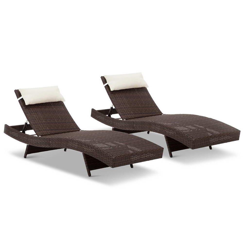 wicker outdoor sun lounger x 2 brown. Black Bedroom Furniture Sets. Home Design Ideas