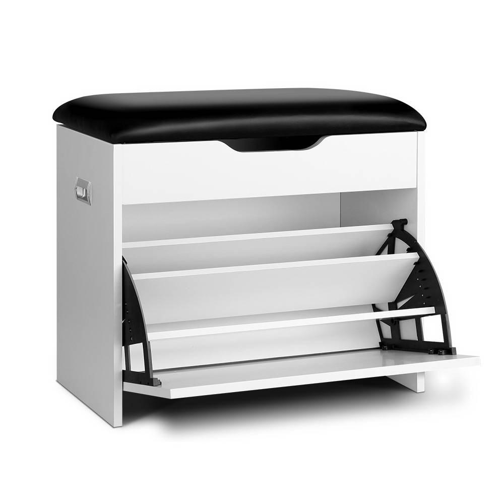 3 Tier Shoe Cabinet Storage Stool White
