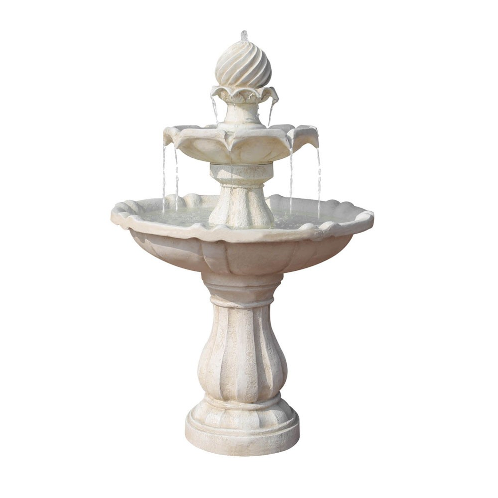Solar Power Three Tier Water Fountain Ivory